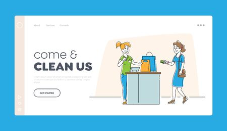 Shopping in Garment Shop Website Landing Page. Girl Customer with Goods in Bags Stand at Cashier Desk Paying for Purchases by Credit Cards Web Page Banner. Cartoon Flat Vector Illustration, Line Art  イラスト・ベクター素材