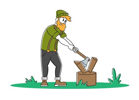 Young Man Chopping Wood. Bearded Guy with Ax in Hands Trying to Cut Logs and Timbers. Tourist Spend Time Outdoors on Nature. Camping, Hiking Active Lifestyle Cartoon Flat Vector Illustration, Line Art