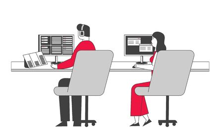 Air Controllers Characters, Airport Employees Wearing Headset Sitting in Special Area with Monitors and Control Airplanes in Flight and Planes on Runway. Cartoon Flat Vector Illustration, Line Art