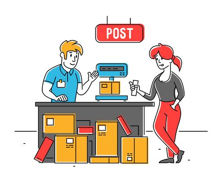 Post Office Worker Put Carton Parcel Box on Scales for Weigh. Storehouse Storage Logistics, Delivery Transportation Service. Freight and Goods Distribution Cartoon Flat Vector Illustration, Line Art Vettoriali