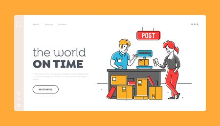 People in Post Office Landing Page Template. Worker Character Put Carton Parcel Box on Scales for Weigh. Storehouse Storage Logistics Service Freight and Goods Distribution. Linear Vector Illustration