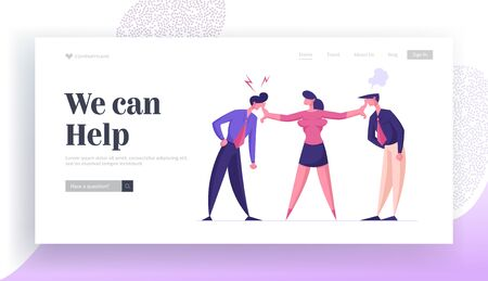 Business Competition for Leadership, Challenge Different Point of View Landing Page Template. Businesswoman Mediator Trying to Stop Arguing Businessmen Characters. Cartoon People Vector Illustration Vetores