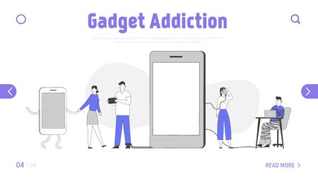 Social Media Addiction Landing Page Template. Characters Bounded with Smartphones. Devices and Gadgets Woman Tied with Metal Chain to Mobile Phone, Internet Addicted People. Linear Vector Illustration