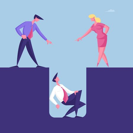 Aggressive Business People Characters Blaming and Yelling on Desperate Confused Business Man Sit in Deep Hole. Bullying in Office, Failure and Finance Problem Concept. Cartoon Vector Illustration Vectores