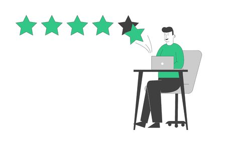 Ranking Evaluation and Rating Classification Concept. Businessman Character Click on Green Stars in Pc to Increase Rate, Give Review and Feedback for Services in Internet. Linear Vector Illustration