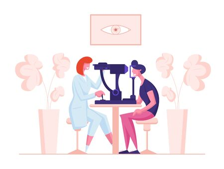 Ophthalmologist Doctor Character Test Eye on Special Device. Oculist Checkup Optometry for Eyeglasses. Medical Optician Treatment Patient Foresight Focus Correction. Cartoon People Vector Illustration