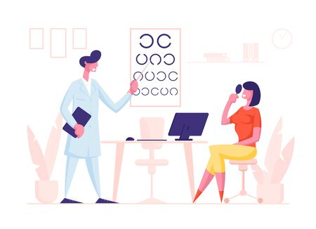 Ophthalmologist Doctor Character Check Eyesight for Eyeglasses Diopter to Woman. Oculist with Pointer Checkup Eye Sight. Professional Optician Exam Patient Vision. Cartoon People Vector Illustration