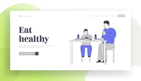 Family Unhealthy Eating Website Landing Page. Fatty Father and Fat Child Sitting at Table with Plenty of Fast Food