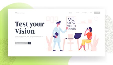 Professional Optician Exam Patient Vision Landing Page Template. Ophthalmologist Doctor Character Check Eyesight to Woman. Oculist with Pointer Checkup Eye Sight. Cartoon People Vector Illustration Ilustracja