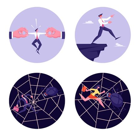 Set of Business People Characters in Danger Situation Stuck in Spider Web, Blindfolded Businessman Step to Abyss, Huge Hands Pull Man by Sides Isolated on White Background. Cartoon Vector Illustration Vettoriali