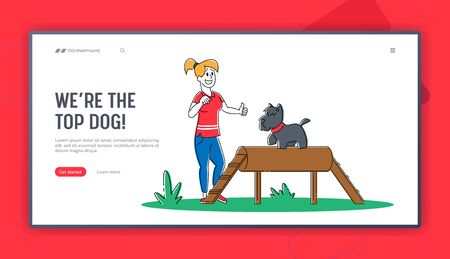 Happy Woman Training Dog in Park Landing Page Template. Girl Playing with Puppy. Female Character Spend Time Care of Domestic Animal. Friendship, Active Lifestyle Leisure. Linear Vector Illustration