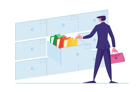 Office Clerk Character Searching for Files Into Filing Cabinet Drawer, Business Administration and Data Storage Concept. Businessman Take Documents in Archive Storage. Cartoon Vector Illustration