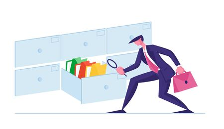 Businessman Look for Documents in Archive Storage. Office Clerk Character Searching Files in Cabinet Drawer with Magnifying Glass. Business Data Administration Concept. Cartoon Vector Illustration