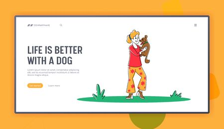 Female Owner Character Holding Little Dog on Hands Landing Page Template. Happy Woman Playing with Pet on Street in Park Having Leisure, Spend Time with Domestic Animal. Linear Vector Illustration