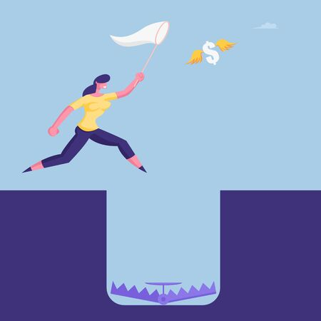 Businesswoman Character in Formal Suit Catching Flying Dollar with Net Ignoring Hole with Trap on Bottom. Careless Business Woman Problem Ignorance, Searching Solution. Cartoon Vector Illustration