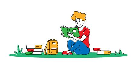 Education Gaining Knowledge Concept. Young Man Student Character Sitting with Books Learning Homework Prepare to Exams in University or College Isolated on White Background. Linear Vector Illustration