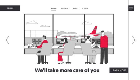 Air Controller Team Working with Plane on Runway Landing Page Template. Characters Wearing Headset