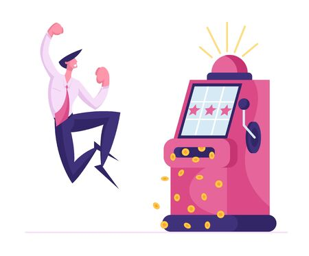 Financial Freedom Concept. Happy Young Business Man Screaming Super Excited Get Jackpot. Ecstatic Character Celebrate Success, Money Rain Falling Down from Slot Machine. Cartoon Vector Illustration