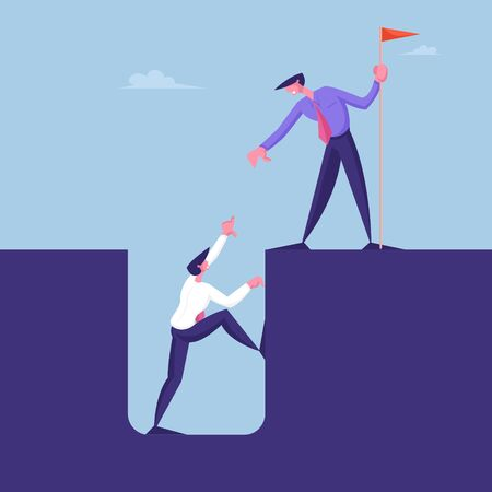 Business Character with Red Flag in Hand Help Colleague Climb Up from Deep Hole. Businessman Help Teammate to Overcome Crisis Situation. Teamwork Leadership Concept. Cartoon People Vector Illustration