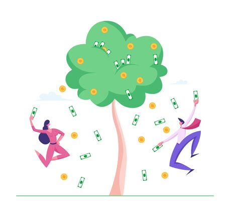 Businesspeople Characters Happily Jumping under Money Rain Falling from Tree with Dollar Banknotes and Golden Coins. Successful Business People Finance Freedom Concept. Cartoon Vector Illustration