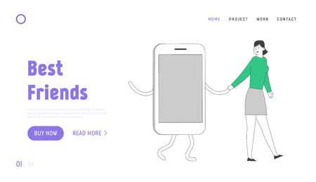 Gadget and Networking Addiction Landing Page Template. Young Smiling Woman Walk Together with Huge Smartphone Hand by Hand. Female Character Dangerous Habit, Gadgetomania. Linear Vector Illustration