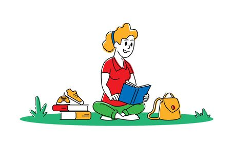 Young Woman with Book Sitting on Grass Prepare to Examination or Make Homework. Student Girl Character Reading and Learning. Education in University or College Concept. Linear Vector Illustration