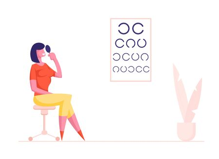Eyesight Check Up Procedure in Clinic. Woman Character Look at Test Chart for Vision Checkup. Patient in Oculist Office