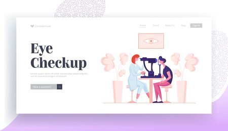Oculist Checkup Optometry for Eyeglasses Landing Page Template. Ophthalmologist Doctor Character Test Eye on Special Device. Medical Optician Patient Treatment. Cartoon People Vector Illustration