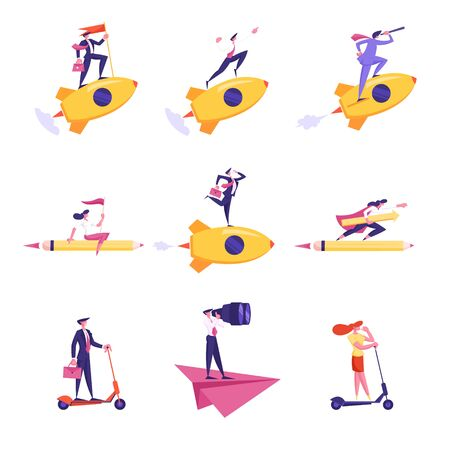 Set of Business People Characters Flying on Rocket, Paper Airplane and Huge Pencil Look in Spyglass and Binoculars 矢量图像