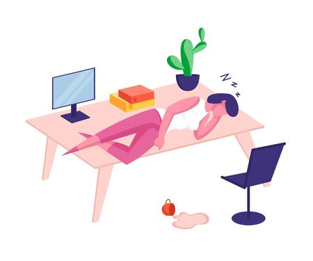 Overwork Burnout, Tiredness and Fatigue Concept. Tired Overload Businesswoman Character with Low Life Energy Power Sleeping on Office Desk with Spilled Coffee on Floor. Cartoon Vector Illustration