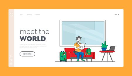 Hostel Accommodation, Hospitality Service Landing Page Template. Tourist with Luggage Sitting on Couch in Hostel Lobby. Male Traveler Character Move to Cheap Guesthouse. Linear Vector Illustration Ilustração