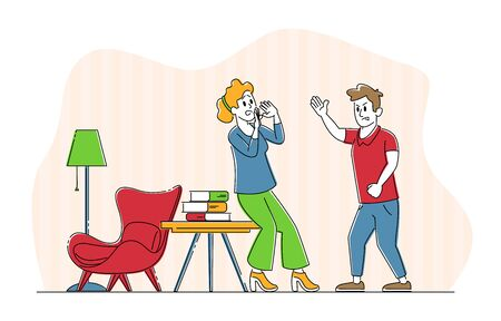 Domestic Violence and Spousal Abuse Concept. Young Family Quarrel and Swear in Living Room. Aggressive Man Yell on Woman. Husband and Wife Scandal, Human Relations. Linear People Vector Illustration
