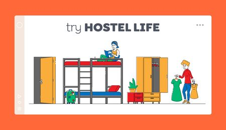 Cheap Accommodation for Students and Tourists Landing Page Template. Young Female Characters Roommates Living in Hostel, Girl Reading Book Sit on Bunk Bed. Linear People. Linear Vector Illustration
