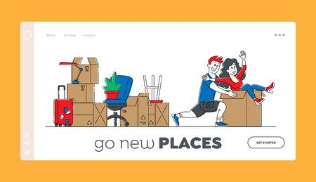 Happy People Relocation to Own Apartment, Mortgage Landing Page Template. Characters Fooling and Rejoice in New House, Man Pushing Cardboard Box with Girl Sitting inside. Linear Vector Illustration