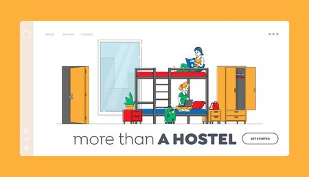 Cheap Hostel for Tourist Accommodation Landing Page Template. Female Characters Sitting on Bunk Bed Reading Book Work on Laptop. Place for Living, Home. Linear People. Linear Vector Illustration