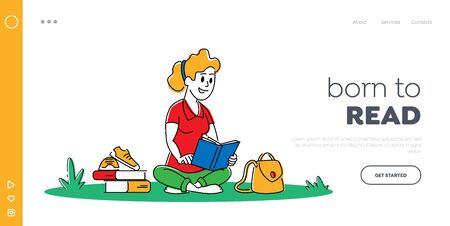Education in University or College Landing Page Template. Young Woman with Book Sitting on Grass Prepare to Examination or Make Homework. Student Girl Character Learning. Linear Vector Illustration Vettoriali