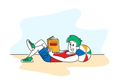 Reading Books Hobby. Young Man Lying on Floor at Home or Beach with Ball under Head Read Interesting Book. Deep Immersion to Fantasy World, Male Character Bookworm Reader. Linear Vector Illustration