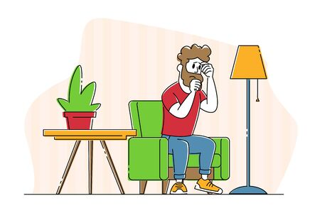 Unhappy Sad Man Character Sitting in Living Room with Suffering Face Feel Bad cos of Quarrel with Wife. Family Relations, Divorce, Depression and Marriage Crisis Concept. Linear Vector Illustration