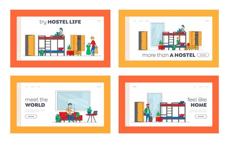Hostel Accommodation, Hospitality Service Landing Page Template Set. Diverse People Stay at Night in Room for Relaxation. Male and Female Characters Live in Cheap Motel. Linear Vector Illustration