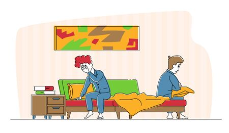 Spouse Quarrel Concept. Sad Offended Married Couple Wearing Pajamas Sitting on Bed Feeling Bad cos of Arguing. Divorce, Family Crisis and Conflict Situation, Disappointment. Linear Vector Illustration