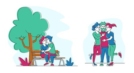 Set of Kissing People. Couple Flirting on Bench in Summer City Park. Young Girls Kiss Gigolo Man. Male Female Characters Spend Time Together, Fall in Love, Dating Sparetime. Linear Vector Illustration Ilustração