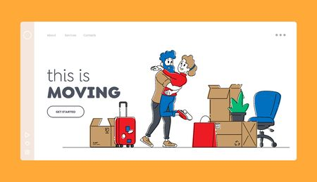 Pair Relocation and Moving to New House Landing Page Template. Young Loving Couple Characters Hugging and Dancing in New Home with Unpacked Cardboard Boxes around. Linear People Vector Illustration