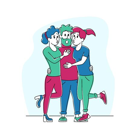 Couple of Girls Hugging and Kiss Bearded Surprised Hipster Man Character. Love, Human Relations, Gigolo Dating with Women at Party for Adults. Love Triangle Concept. Linear People Vector Illustration Ilustração