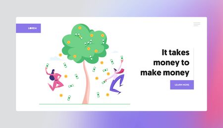Successful Business People Finance Freedom Landing Page Template. Businesspeople Characters Happily Jumping under Money Rain Falling from Tree with Dollar Banknotes. Cartoon Vector Illustration