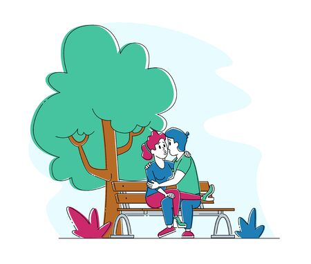 Loving Couple Kissing on Bench in Summer City Park. Young People Spend Time Together Flirting, Chatting on Street. Male and Female Characters Fall in Love, Dating Sparetime. Linear Vector Illustration