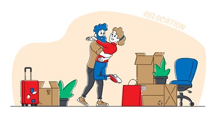 Young Loving Couple Characters Hugging and Dancing in New Home with Unpacked Cardboard Boxes around Vetores