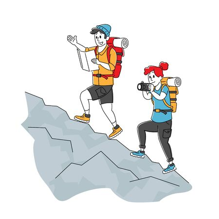 Man and Woman Backpackers Character Learning Map and Making Photo Climbing on Rock. Travelers Hiking Adventure Vacation Concept. Tourists Walking Route Outdoors. Linear People Vector Illustration