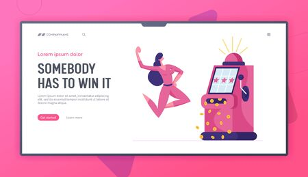 Happy Woman Character Win Jackpot on One-armed Bandit in Casino or Gaming House Landing Page Template. Lucky Player Rejoice, Las Vegas Nightlife Gambling Business Industry. Cartoon Vector Illustration