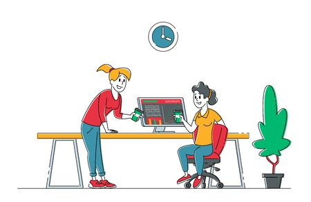Team Group of Creative Women Characters Sitting at Office Desk with Pc Working in Studio or Coworking Area. Office Employees Business People Work in Company, Teamwork. Linear Vector Illustration Ilustração