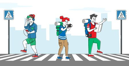 Relaxed Pedestrian Characters Crossing Road with Zebra and Traffic Lights. Hipster Listen Music by Smartphone Walking by Crosswalk, Backpackers Watch Map, City Life. Linear People Vector Illustration